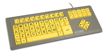 BigKeys LX with yellow keys in QWERTY order